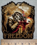 3144 G - You Just Don't Mess  With Freedom - Mitlitary Skullman In Uniform Shooting Gun - Embroidery Patch