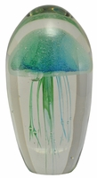 "Blue Green 6"" Jellyfish Glass Paperweight"