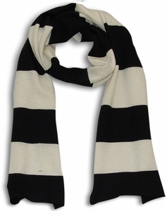 100% Cashmere Soft and Warm Rugby Striped Scarf Black White