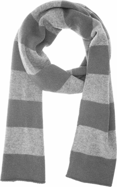 100% Cashmere Soft and Warm Rugby Striped Scarf Grey & Light Grey