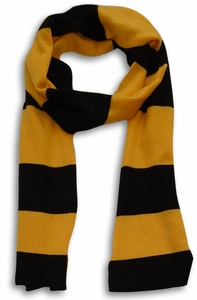 100% Cashmere Soft and Warm Rugby Striped Scarf Mustard & Black