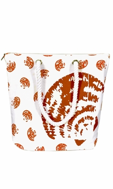100% Cotton Canvas Handbag Picnic Boat Bag Seashell Print Orange