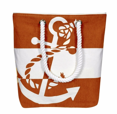 100% Cotton Chic Summer Anchor Print Canvas Bags Beach Totes (One Size, Orange White)