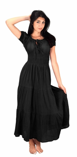 100% Cotton Gypsy Tiered Renaissance Cinched Waist Maxi Dress (Black)