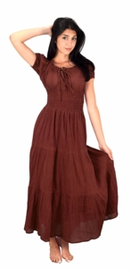 100% Cotton Gypsy Tiered Renaissance Cinched Waist Maxi Dress (Brown)