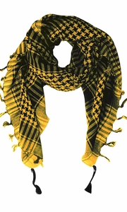 100% Cotton Unisex Hounds Tooth Tactical Military Shemagh Keffiyeh Scarf Wrap Yellow