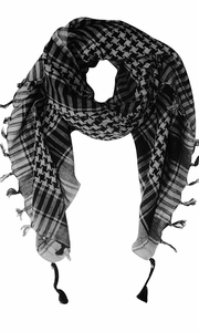 100% Cotton Unisex Tactical Houndstooth Military Shemagh Keffiyeh Scarf Wrap Grey