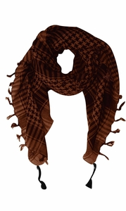 100% Cotton Unisex Tactical Military Plaid Shemagh Keffiyeh Scarf Wrap Brown