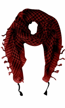 100% Cotton Unisex Tactical Military Shemagh Keffiyeh Scarf Wrap Maroon