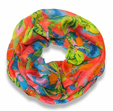 Abstract Colorful Tropical Hibiscus Flower Infinity Loop Scarf (Coral)