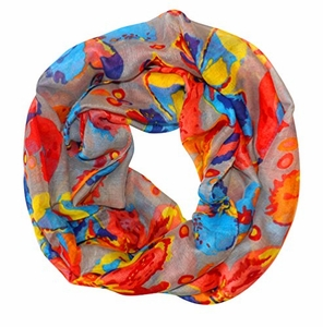 Abstract Colorful Tropical Hibiscus Flower Infinity Loop Scarf (Gray)