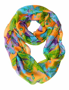 Abstract Colorful Tropical Hibiscus Flower Infinity Loop Scarf (Orange)