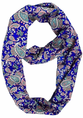 Adorable Mod Colorful Paisley Print Infinity Loop Wrap Scarf (Royal Blue)