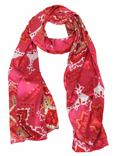 Adorable Pink Celtic Floral Silk Feel Scarf