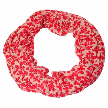 Adorably Chic Coral Leaves Infinity Loop Scarf