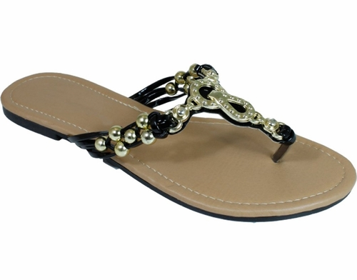 Alexandra Chain Beaded Summer Thong Strappy Comfort Sandals