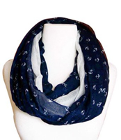 All Season's Infinity Loop Anchor Print Scarf