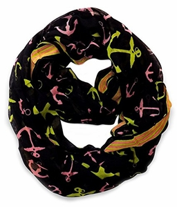 All Season's Nautical Anchors Infinity Loop Scarf  (Black Large)