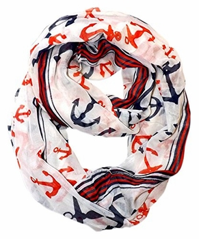 All Season's Nautical Anchors Infinity Loop Scarf  (Cream Large)