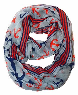 All Season's Nautical Anchors Infinity Loop Scarf  (Grey Large)