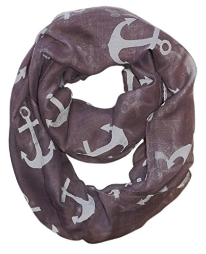 All Season's Infinity Loop Anchor Print Scarf (Lavender Large Solid)