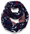 All Season's Nautical Anchors Infinity Loop Scarf  (Navy Large)