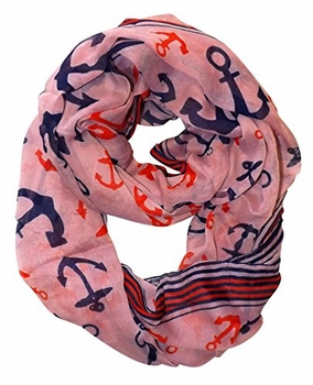 All Season's Nautical Anchors Infinity Loop Scarf  (Pink Large)