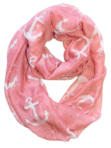 All Season's Infinity Loop Anchor Print Scarf (Pink Large Solid)