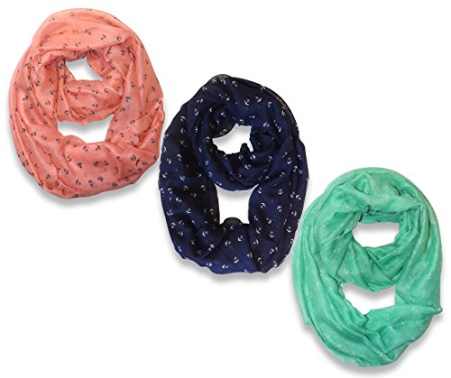 All Season's Nautical Anchors Infinity Loop Scarf  3-Pack Set (Pink/Navy/Aqua)
