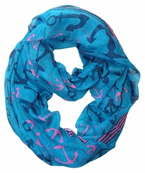 All Season's Nautical Anchors Infinity Loop Scarf  (Teal Large)