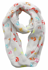 All Season's Nautical Anchors Infinity Loop Scarf  (White/Rainbow)
