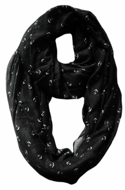 All Season's Nautical Anchors Infinity Loop Scarf (Black)