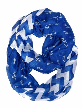 All Season's Nautical Anchors Infinity Loop Scarf (Blue Chevron Large)