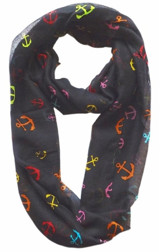All Season's Nautical Anchors Infinity Loop Scarf  (Charcoal/Rainbow)