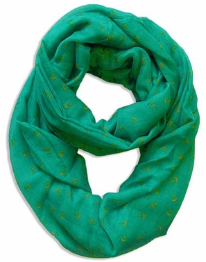 All Season's Nautical Anchors Infinity Loop Scarf (Emerald Green)