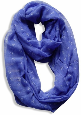 All Season's Nautical Anchors Infinity Loop Scarf (Periwinkle Blue)