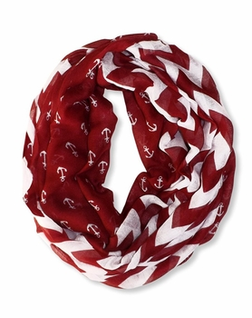 All Season's Nautical Anchors Infinity Loop Scarf (Red Chevron Large)