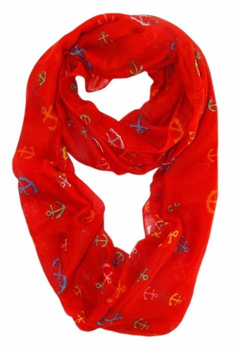 All Season's Nautical Anchors Infinity Loop Scarf (Red/Rainbow)