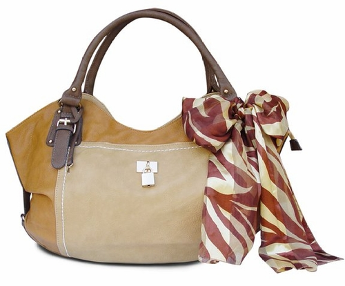 Lock and Key Top Handle Oversize Tote Tied Scarf Handbag (Beige)