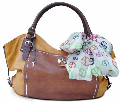 Lock and Key Top Handle Oversize Tote Tied Scarf Handbag (Coffee)