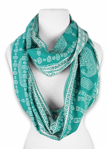 Animal Print Infinity Loop Scarf - Green / White