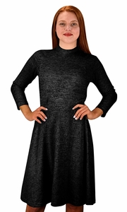 Ardent Academic Cozy Stylish Knit Pullover Sweater Dress Black