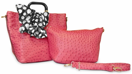 Ostrich Emboss Two Piece Tote & Satchel Tied Scarf Handbag (Coral)