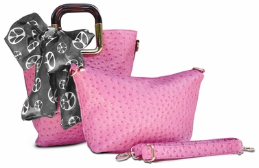 Ostrich Emboss Two Piece Tote & Satchel Tied Scarf Handbag (Fuchsia)