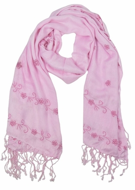 Vintage Floral Hand Embroidered Pashmina Shawl Scarf (Pink)