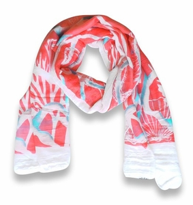 Beach Nautical Shell Seahorse Coral Reef Lightweight Fringe Scarf (Coral)