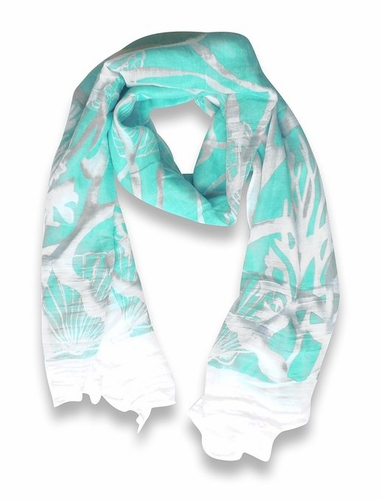 Beach Nautical Shell Seahorse Coral Reef Lightweight Fringe Scarf (Mint)