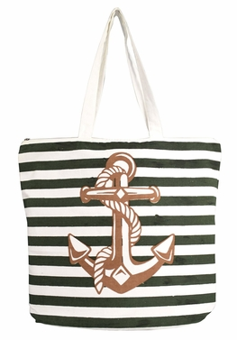 Beautiful Pattern Cotton Canvas Tote Bag Handbags Shoulder Bags Boho Anchor Green