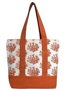 Beautiful Pattern Cotton Canvas Tote Bag Handbags Shoulder Bags Boho Coral