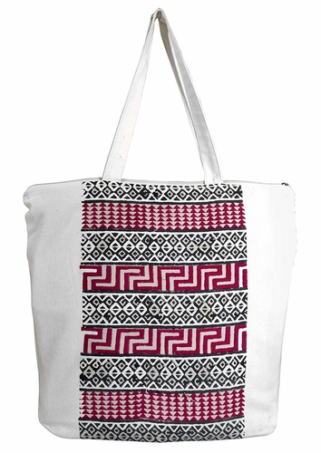Beautiful Pattern Cotton Canvas Tote Bag Handbags Shoulder Bags Boho Fuchsia Black